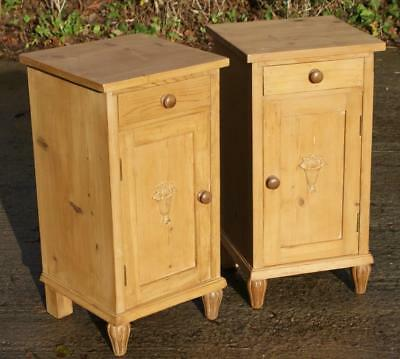 A Fine Matching Pair Of Antique Solid Pine Dutch  Bedside Cabinets