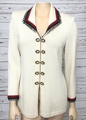 ST. JOHN COLLECTION By Marie Gray Women's Cream Red Jacket Size 2