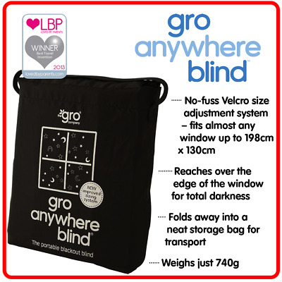 ❤  Gro Anywhere Blind Black Blackout Blind for sleeping Baby Toddler & Kid Rooms