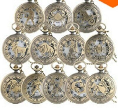 Vintage Zodiac Pattern Pocket Watch Modern Necklace Chain Copper Retro Style