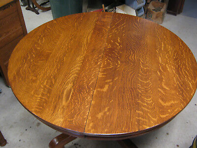 """45"""" Oak Round Dining Table w/ 6 Leaves"""