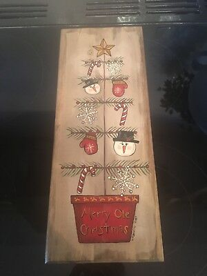 American Americana Folk Art Primitive Display Plaque Snowman Christmas