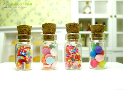 4 Dollhouse Miniature Glass Candy Jar Bottle Shop Store Kitchen Food Decor 1/12
