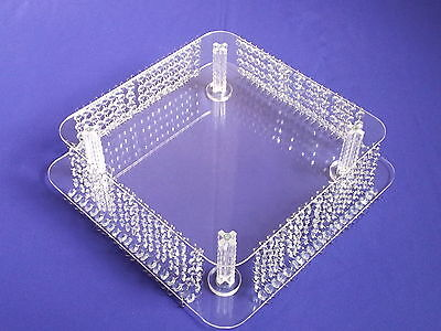 Chandelier Crystal Square Cake Stand - Real Crystals - Stack-able Cakes