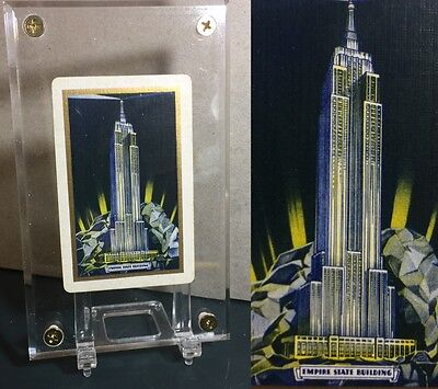 Art Deco 1930's Linen New York Empire State Building Debut Playing Cards Single