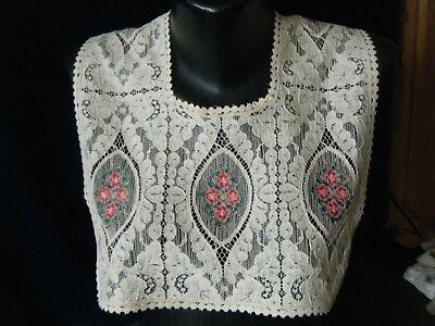 Antique Victorian Collar Alencon lace w petit point embr/red eye shape motives