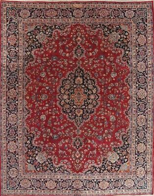 CLEARANCE Kashmar Vintage Old Floral Oriental 10x12 Hand-Knotted Area Rug Woolen