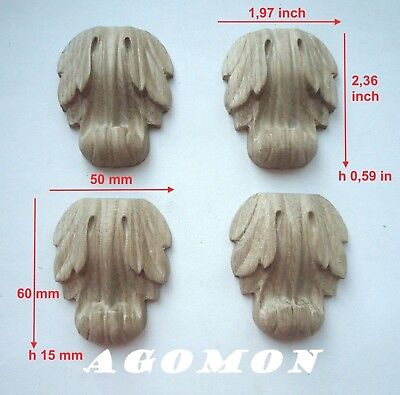 Wood carved corbel, set 4 pc, onlay applique sticker for home decor furniture