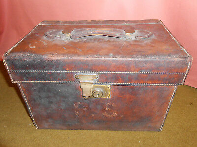 Antique Leather Top Hat Box Herbert Johnson Red Lined Brass Catch