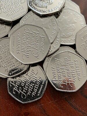 New Brexit 50p Coin 2020 Fifty Pence Coin UNC from sealed bag ( ONE COIN )