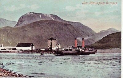 BEN NEVIS FROM CORPACK. 1920s Postcard Showing Dock & Paddle Steamer. VGC