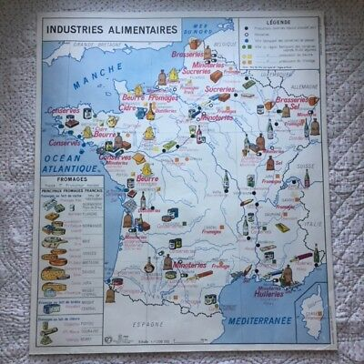 """Vtg 1960 FRANCE SCHOOL MAP """"Food Industries"""" French Cheese Wine/Population PARIS"""