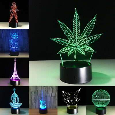 Led Touch Lamp Transparent Acrylic Night Light Maple Leaf 3D Color Changing Kit