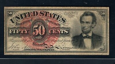 FR1374 4th ISSUE (1869-1875) 50 CENTS LINCOLN FRACTIONAL CURRENCY VF-ExF
