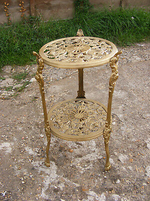 Antique Vintage Style Claw Footed Brass Cherub Two Tiered Plant Cake Stand Table