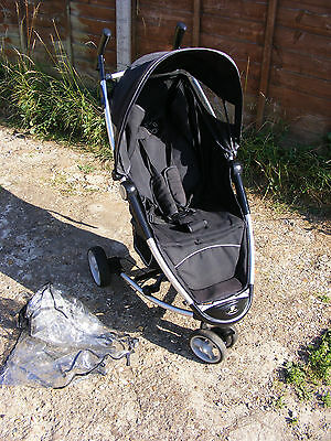 Black Petite Star 3 Wheeler Compact Fold Stroller Pushchair Buggy with Raincover