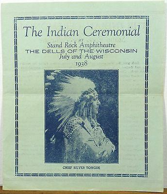 1938 Wisconsin Dells Stand Rock Amphitheatre Indian Ceremonial brochure b