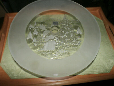 "Mikasa Christmas Story Footed Frosted  Torte / Cake Plate 13"" Wide"