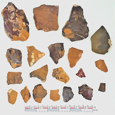 Mousterian tools in Fontmaure Multicolor Jasper NEANDERTHAL PALEOLITHIC #23