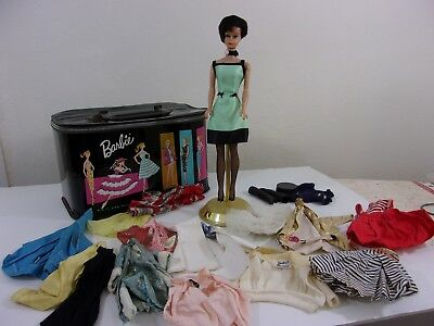 Black haired Bubble Cut Vintage Barbie with case and clothes, possibly from 1961