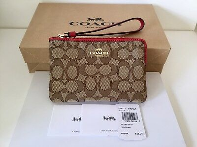 Authentic Coach Outline Signature Corner Zip Wristlet F58033