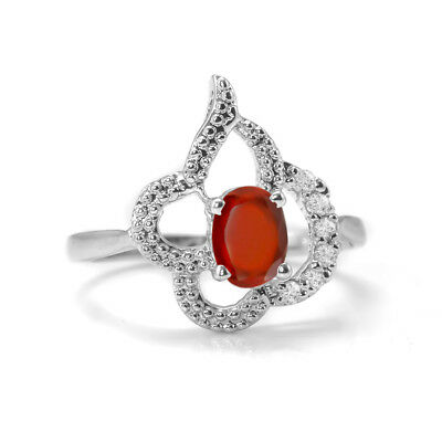 Orange Hessonite Garnet Sterling Silver Ring Natural Size 4 5 6 7 8 9 10 11