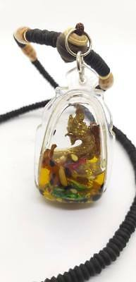 Brass Naga Holy Oil Pendant Necklace Thai Statue Amulet Wealth Lucky Fortune