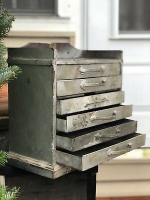 Early Antique 1900s Wood Metal Industrial Primitive Apothecary Hardware Cabinet