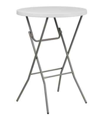 32in Diameter 43.5in High Round White Plastic Bar Height Cocktail Folding Table