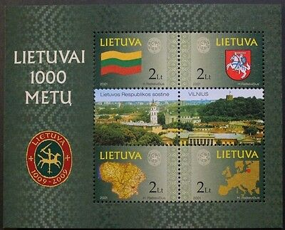 Millenary of Lithuania stamp sheet, 2001, Lithuania, SG ref: MS762, MNH