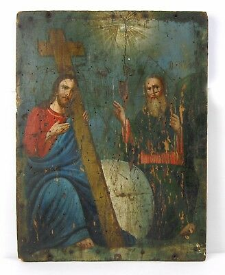 Antique Icon Trinity Orthodox Russian Empire Wood 285 x 210 mm