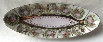 Vintage Arnart Courting Couple Porcelain Celery Dish 10""