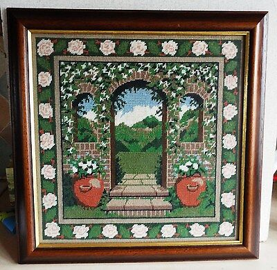 Framed Hand Embroidery Needle Point Depicting Garden Scene 17 1/2 Inches Square
