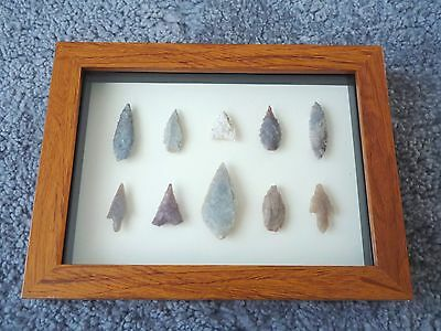Neolithic Arrowheads in 3D Picture Frame, Authentic Artifacts 4000BC (0148)