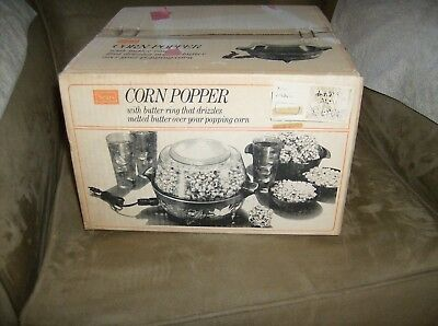 NEW SEALED IN BOX Vintage Sears Electric Popcorn CORN Popper HARVEST GOLD