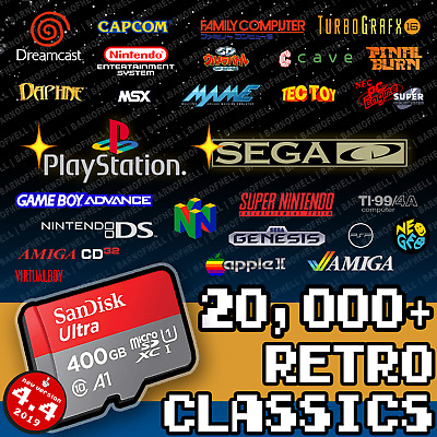 400 GB Retropie 4.4 SD Card - Monster Collection With Video Previews & 3D Boxart