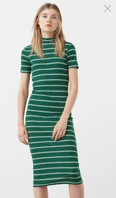 BNWT MANGO Striped Green Ribbed Knit White Funnel Neck Midi Maxi Jumper Dress 12
