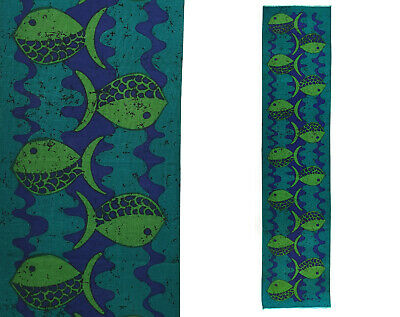 Vintage 1960s 70s Long Abstract Fish Fabric Table Runner / Wall Hanging - Signed