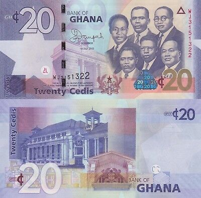 Ghana 20 Cedis (01.7.2015) - Big Six/Old Parliament/p40f UNC
