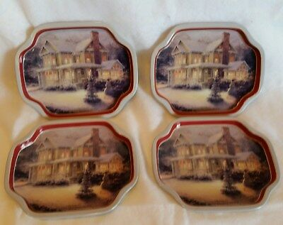 Thomas Kinkade Set of Four-  Trays Victorian Christmas III  2004