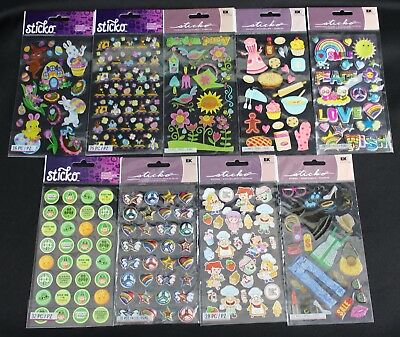 Girls Scrapbooking Lot: 9 New Sticko Sticker Packages (Fashion, Baking, Holiday)