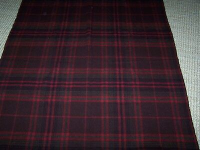 "Vintage Wood Plaid Tartan Blanket Throw Afghan Red Brown Grey 60"" x 50"""
