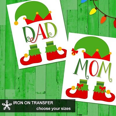 Elf Family Names Personalized Christmas T-Shirt Iron On Transfer