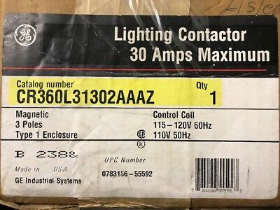 GE 30 amp magnetic lighting contactor cr360l31302aaaz New In The Box