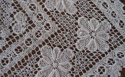 True Vintage Filet Lace Lacis Table Runner Raised Roses 47""