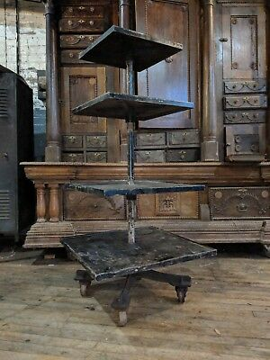 Industrial Shelf Display Rack Cast Iron Base Store Decor Factory Loft