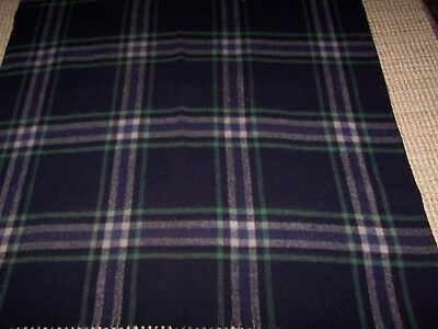 Vintage Reversible Thick Wool Plaid Tartan Blanket Throw Black Green Grey White