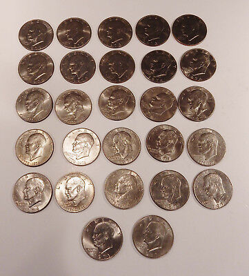 Lot of 27 Ike Silver Dollars 1971-1978 mixed