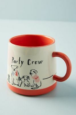 NWT Anthropologie Shana Torok Woof and Whimsy - Party Crew Dog Mug-SOLDOUT