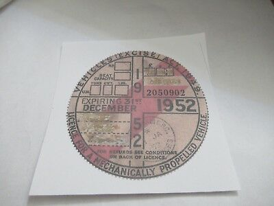 Sunbeam S7 & S8  1947/1955 Or Any Brit  Photo Copy Of A Uk 1952 Road Tax Disc